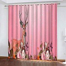 xczxc Kids Blackout Curtains Flower deer Thermal