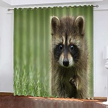 xczxc Kids Blackout Curtains Gray bear Thermal