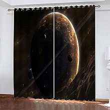 xczxc Kids Blackout Curtains Gray planet Thermal