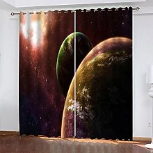 xczxc Kids Blackout Curtains Green planet Thermal