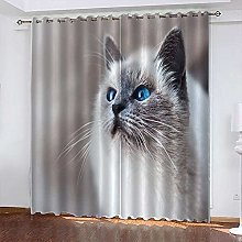 xczxc Kids Blackout Curtains Grey cat Thermal