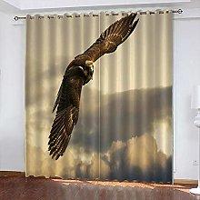 xczxc Kids Blackout Curtains Grey Flying Eagle
