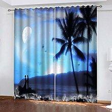 xczxc Kids Blackout Curtains Moonlit palm tree