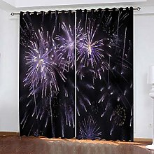 xczxc Kids Blackout Curtains Purple firework