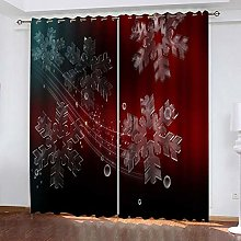 xczxc Kids Blackout Curtains Red snowflake Thermal
