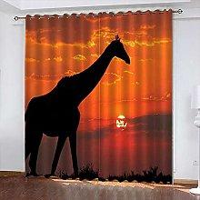 xczxc Kids Blackout Curtains Sunset giraffe