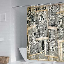 xczxc Polyester Shower Curtain Vintage newspaper