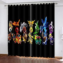 XDJQZX Curtains For Bedroom Eyelet 3D Black