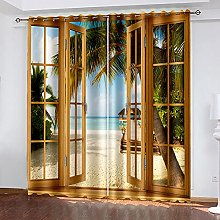XDJQZX Curtains For Bedroom Eyelet 3D Brown