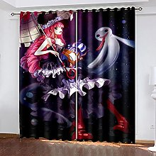 XDJQZX Curtains For Bedroom Eyelet 3D Cartoon