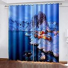 XDJQZX Curtains For Bedroom Eyelet 3D Night View