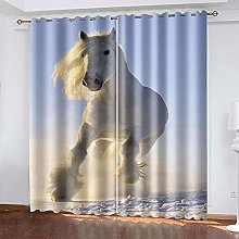 XDJQZX Curtains For Bedroom Eyelet 3D Snow Horse