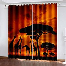 XDJQZX Curtains For Bedroom Eyelet 3D Sunset Art