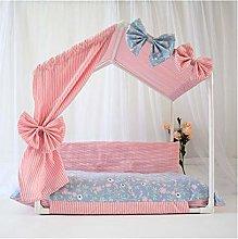 XDRE Cat Dog Bed Princess Dog Kennels Cages Pink