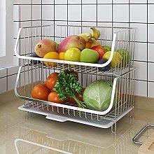 XEMQENER Large Storage Basket Metal Mesh Fruit