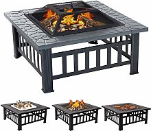 XEMQENER Outdoor Fire Pit with BBQ Grill Shelf for