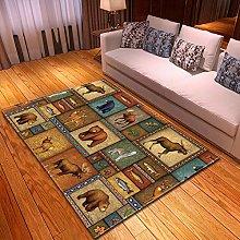 XFHHXFY Carpet Area Rug Checkered Animal Bedroom