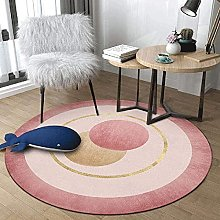 XFSHKJS Modern Round Area Rug Pink for Living and