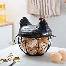 XGXQBS Chicken Shape Ceramics Metal Egg Basket