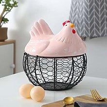 XGXQBS Metal mesh egg storage basket, with Ceramic