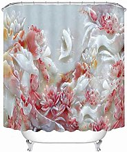 XHCP Shower Curtains Pink Rose and Swan Lovers