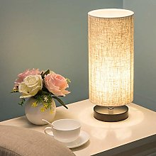 XHCP Table Lamp, Bedside Counter Lamp Round Linen