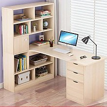 XHF Computer Desk with Storage Shees,Wood Computer
