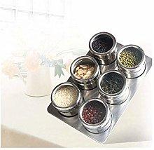 XHF Spice Jars,6Pcs / Set Clear Lid Magnetic Spice