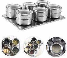 XHF Spice Jars,6Pcs Spice Magnetic Spice Jar for