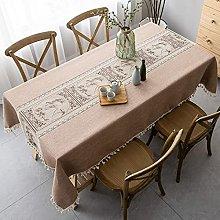XHNXHN Tablecloth Cotton Linen Rectangular Table
