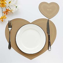 Xhuanggs Heart-Shaped PU Leather Placemats and