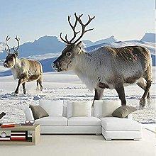 XHXI 3D Wall Mural Wallpaper Snow Elk Nature