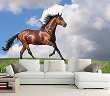 XHXI 3D Wallpaper Horses Grass Clouds Animals