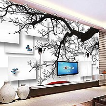 XHXI Photo Wallpaper Black Tree Branches 3D Stereo