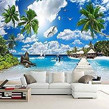 XHXI Seascape 3D Wallpaper Coconut Tree Sofa