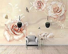 XHXI Wallpaper Hand-Painted Champagne Rose