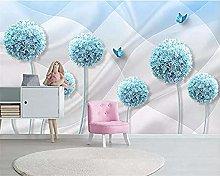 XHXI Wallpaper Personality 3D Blue Dandelion