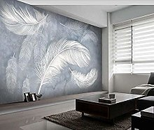 XHXI White Feather Sidewall Wallpaper Modern Stone