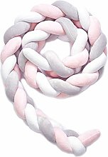 XIAN Braided Cot Bumper Baby Crib Cushion Knotted