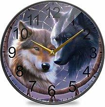 XiangHeFu Desk Clock Battery Operated Wolf Dream