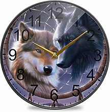 XiangHeFu Desk Clock Battery Operated Wolf Dream