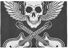 XiangHeFu Non Slip Placemat 12x18inx4 Music Skull