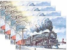 XiangHeFu Placemats Winter Steam Engine Train