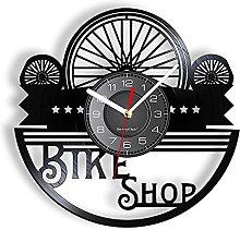 xiayanmei Bicycle Tires Vinyl LP Record Wall Clock