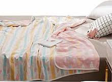 Xief Bed Throw, 6 Layers Cotton Muslin Adult Baby