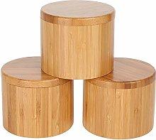Xigeapg Round Bamboo Jar Salt and Spice Storage