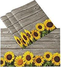 xigua 4PCS Placemats Table Mats,Autumn Sunflowers