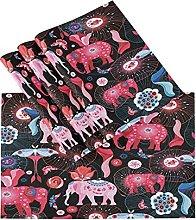 xigua 4PCS Placemats Table Mats,India Elephant