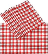 xigua 6PCS Placemats Table Mats,Red Plaid