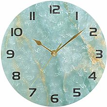 xigua Turquoise Marble Texture Round Wall Clock,